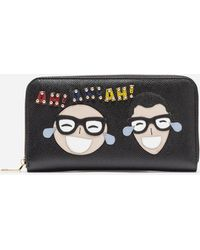 b76baaef2d Dolce & Gabbana - Zip-around Wallet In Printed Dauphine Calfskin With  Patches - Lyst