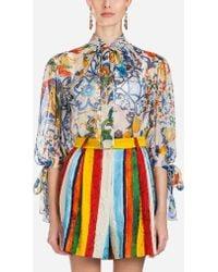 Dolce & Gabbana - Majolica-print Silk Blouse - Lyst