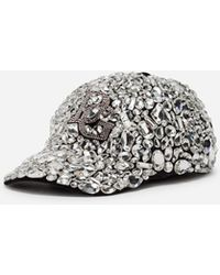 Dolce & Gabbana - Baseball Cap In Velvet With Crystals - Lyst