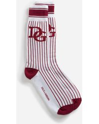Dolce & Gabbana - Printed Terry Cloth Socks With Patch - Lyst