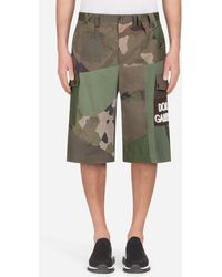 Dolce & Gabbana - Bermudas In Cotton With Patchwork Patch - Lyst