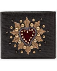 Dolce & Gabbana - Boarded Calfskin Wallet With Patch - Lyst