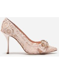 Dolce & Gabbana - Lace Pumps With Bejeweled Detail - Lyst