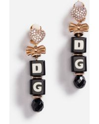 Dolce & Gabbana - Drop Earrings With Dice And Crystals - Lyst
