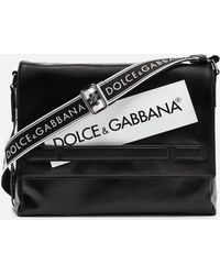 1d543a12facd Lyst - Dolce   Gabbana Black Canvas   Leather Messenger Bag in Black ...