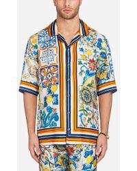 Dolce & Gabbana - Printed Silk Pyjama Shirt - Lyst