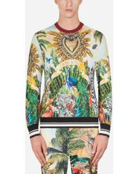 576fa51d Dolce & Gabbana - Silk Round-neck Jumper With Tropical King Print - Lyst