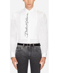 Dolce & Gabbana - Camicia Tuxedo Fit Gold In Cotone Stretch Con Ricamo - Lyst