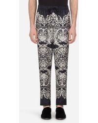 Dolce & Gabbana - Pyjama Trousers In Printed Silk - Lyst