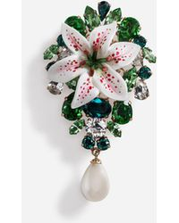 Dolce & Gabbana - Brooch With Rhinestones And Resin Lily Embellishment - Lyst