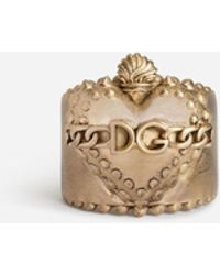 Dolce & Gabbana - Ring With Heart And Dg Logo - Lyst