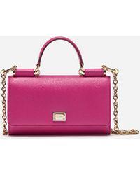 792c934e0752 Lyst - Dolce   Gabbana Mini Von Peony-print Leather Cross-body Bag ...