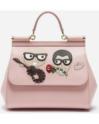Dolce & Gabbana - Sicily Handbag In Dauphine Calfskin With Designers' Patches - Lyst