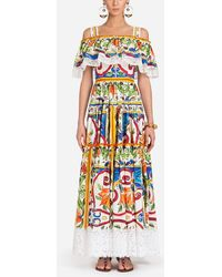 Dolce & Gabbana - Majolica Print Cotton Long Dress - Lyst