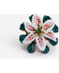 Dolce & Gabbana Ring With Rhinestones And Resin Lily Embellishment - Metallic