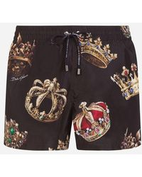 Dolce & Gabbana - Short Printed Swimming Trunks With Pouch - Lyst