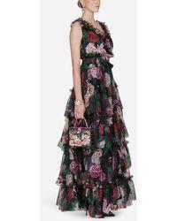 Dolce & Gabbana - Vestido De Seda Estampado - Lyst
