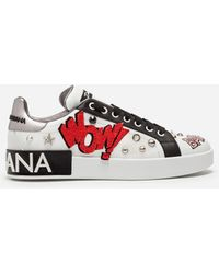 Dolce & Gabbana - Portofino Sneakers In Printed Nappa Calfskin With Embroidery Patch And Applications - Lyst