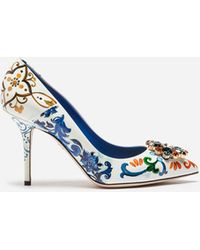 Dolce & Gabbana - Printed Patent Leather Pumps With Brooch Detail - Lyst