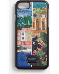 Dolce & Gabbana - Iphone 7/8 Cover In Printed Dauphine Calfskin - Lyst