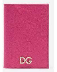 Dolce & Gabbana - Passport Holder In Dauphine Calfskin With Logo Crystalsâ - Lyst