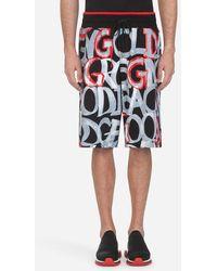 Dolce & Gabbana - Bermuda De Jogging En Coton À Imprimé Graffiti - Lyst