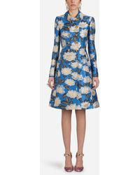 Dolce & Gabbana - Double-breasted Wool Coat In Lurex Jacquard - Lyst