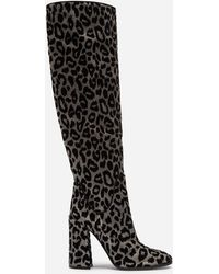 Dolce & Gabbana - Boots In Color-changing Leopard Fabric - Lyst