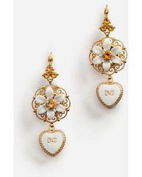 Dolce & Gabbana - Drop Earrings With Hearts - Lyst