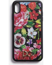 Dolce & Gabbana - Iphone Xs Max Cover In Printed Dauphine Calfskin With Logo - Lyst