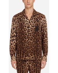 Dolce & Gabbana - Pyjamahemd Aus Bedruckter Seide - Lyst