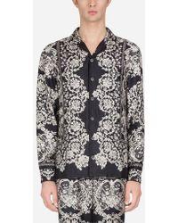 Dolce & Gabbana - Camicia Pigiama In Seta Stampata - Lyst