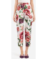 Dolce & Gabbana - Peony-print Silk Pajama Pants - Lyst