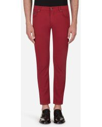 Dolce & Gabbana - Pantalones De Cinco Bolsillos De Algodón Elástico - Lyst