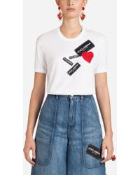 Dolce & Gabbana - Cotton T-shirt With Patches - Lyst