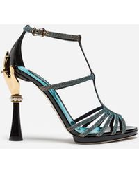 Dolce & Gabbana - Sandal In Color-changing Fabric And Patent Leather With Sculpted Heel - Lyst