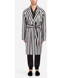 Dolce & Gabbana - Abrigo/Batín De Algodón Elástico Con Parche - Lyst