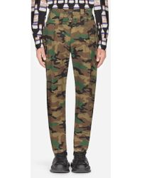 Dolce & Gabbana - Camouflage Cotton Trousers - Lyst