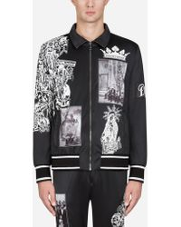 Dolce & Gabbana - Printed Zip-up Sweatshirt With Patch Embellishment - Lyst