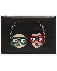 Dolce & Gabbana - Portadocumenti In Vitello Con Patch Ricamo Stilisti - Lyst