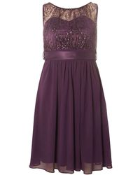 Dorothy Perkins | Showcase Purple Sequin Lace Beth Prom Dress | Lyst