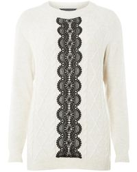Dorothy Perkins - Tall Oatmeal Lace Panel Jumper - Lyst