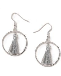 Dorothy Perkins - Silver Look Mini Tassel In Hoop Earrings - Lyst