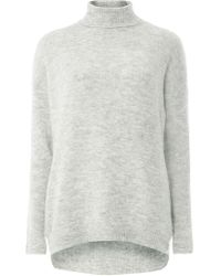 Dorothy Perkins - Noisy May Grey Roll Neck Knitted Top - Lyst