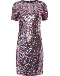 3141b2d4d9d Missguided Barbie Glitter Logo Sequin Sleeve T-shirt Dress in Black ...