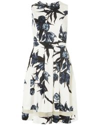 Dorothy Perkins - Ivory And Navy Floral Print Wrap Back Fit And Flare Dress - Lyst