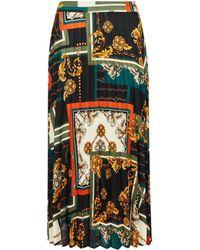 Dorothy Perkins - Black Scarf Print Pleated Skirt - Lyst