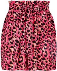 Dorothy Perkins - Multi Colour Animal Print Tab Shorts - Lyst