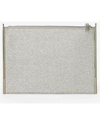 Dorothy Perkins - Silver Shimmer Side Bar Clutch Bag - Lyst