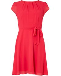 Dorothy Perkins - Billie & Blossom Petite Pink Soft Belted Fit And Flare Dress - Lyst